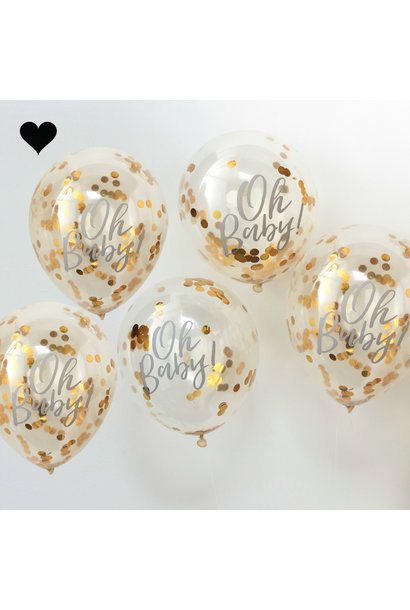 Oh Baby confetti ballonnen (5 st)  - Ginger Ray