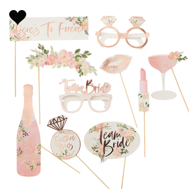Photobooth props Floral Hen Party (10 st) - Ginger Ray-2