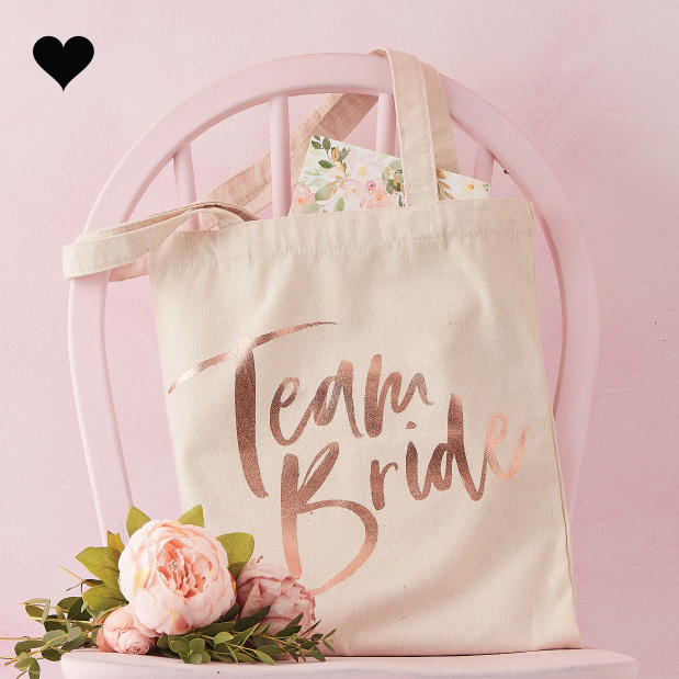 Canvas tas Team Bride Floral Hen Party - Ginger Ray-1