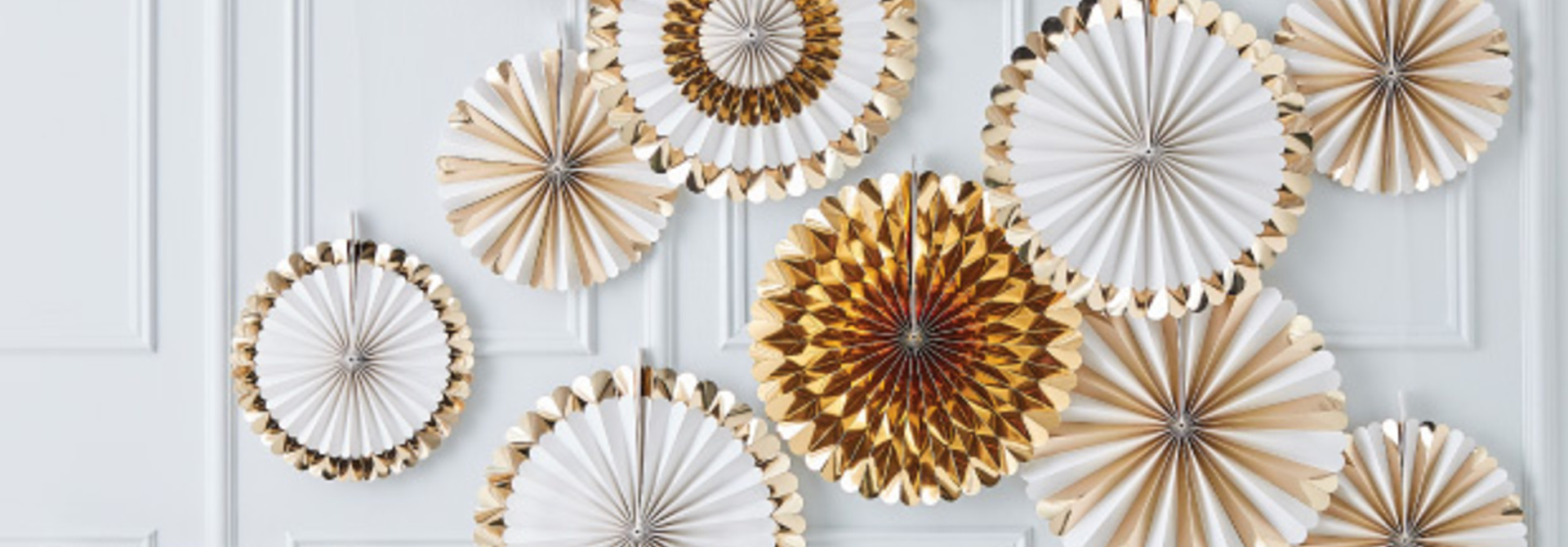 Paperfans goudfolie wit Gold Wedding (15 st) - Ginger Ray