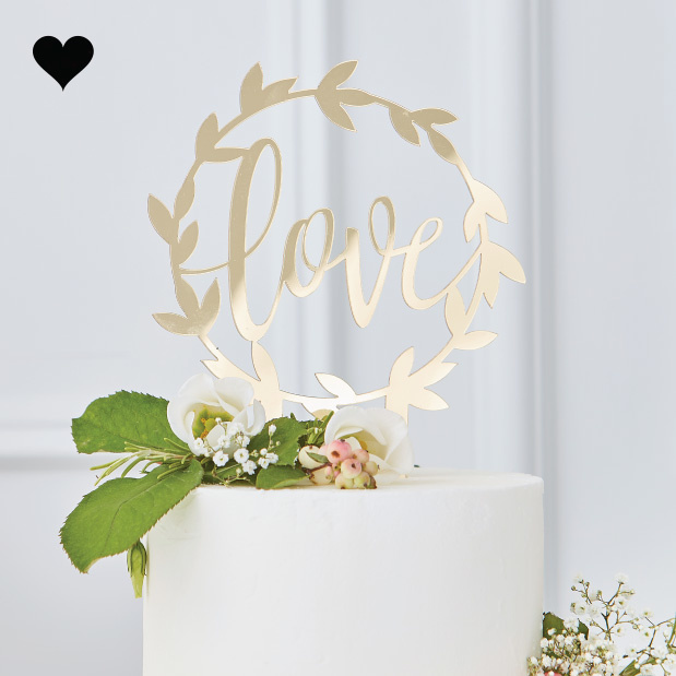 Taarttopper Love Gold Wedding - Ginger Ray-1