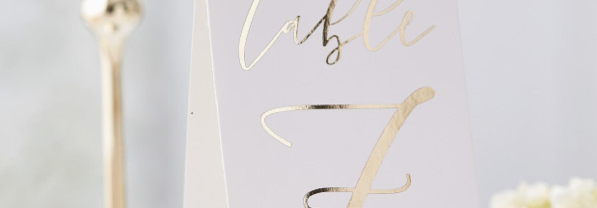 Tafelnummers 1-12 Gold Wedding - Ginger Ray