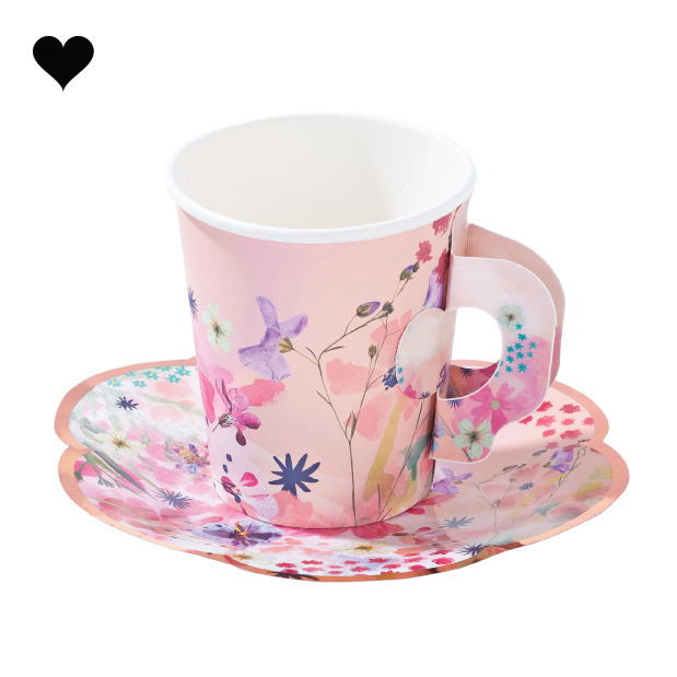 Theekop- en schotel set Blossom Girls (12 st) - Talking Tables-1