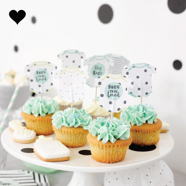 Cake toppers Born To Be Loved (12 st) - Talking Tables-2