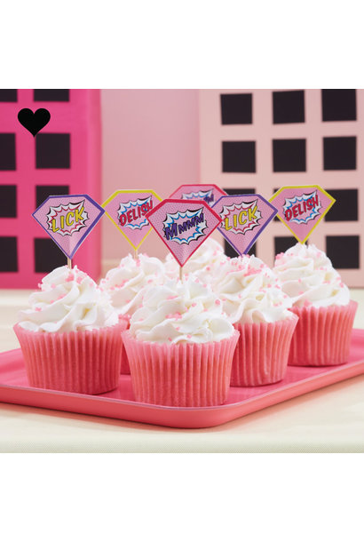 Super Hero Pop Art Pink cupcake toppers (20st) Ginger Ray