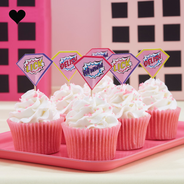 Super Hero Pop Art Pink cupcake toppers (20st) Ginger Ray-1