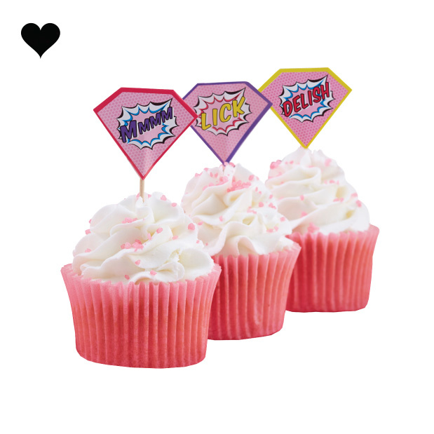 Super Hero Pop Art Pink cupcake toppers (20st) Ginger Ray-2