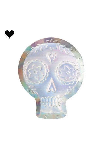 Bordjes Sugar Skull holografisch (8 st) Meri Meri
