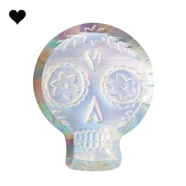 Bordjes Sugar Skull holografisch (8 st) - Meri Meri-1