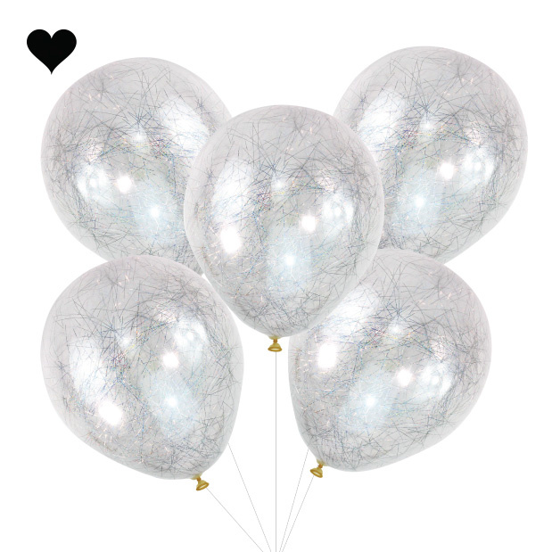 Confetti ballonnen Silver Angel Hair Pop the Bubbly Ginger Ray-2