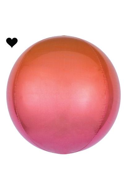 Folieballon ombre rood & oranje (40cm)