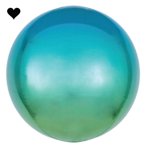 Folieballon ombre blauw & groen (40cm)-1