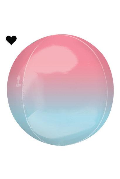Folieballon ombre roze & blauw (40cm)