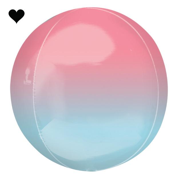 Folieballon ombre roze & blauw (40cm)-1