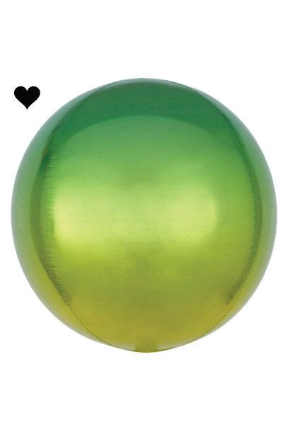 Folieballon ombre groen & geel (40cm)