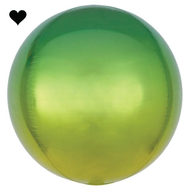 Folieballon ombre groen & geel (40cm)-1