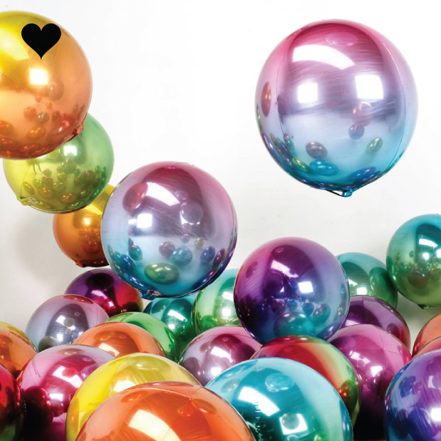 Folieballon ombre groen & geel (40cm)-2