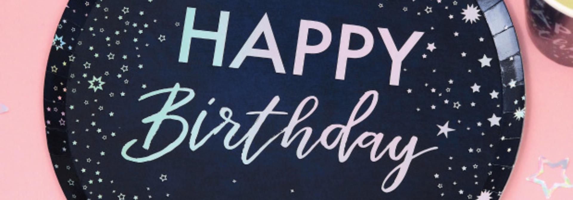 Bordjes Happy Birthday Stargazer (8 st) Ginger Ray