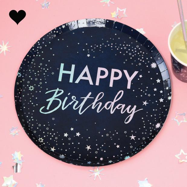 Bordjes Happy Birthday Stargazer (8 st) Ginger Ray-1