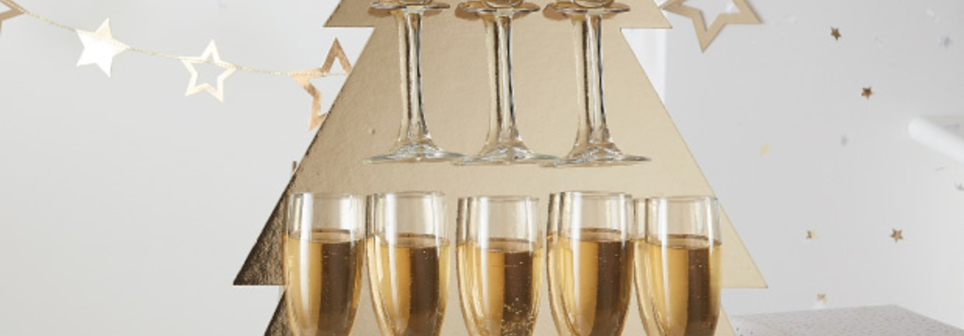 Prosecco Wall kerstboom Gold Glitter Ginger Ray