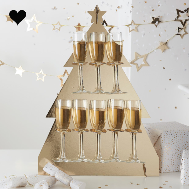 Prosecco Wall kerstboom Gold Glitter Ginger Ray-1