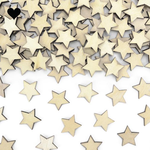 Houten confetti stars (50 st)-1
