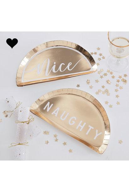 Bordjes Naught or Nice Gold Glitter (8 st) - Ringer Ray