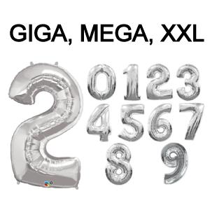 Folieballon cijfer 6 (102cm) - zilver-3
