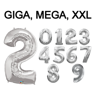 Folieballon cijfer 4 (102cm) - zilver-3