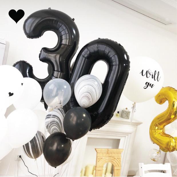 Folieballon cijfer 3 (102cm) - zwart-3