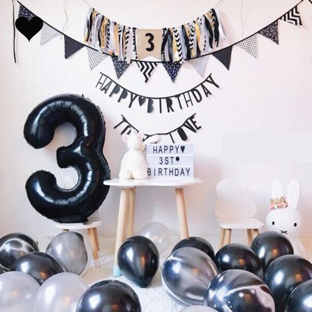 Folieballon cijfer 3 (102cm) - zwart-2
