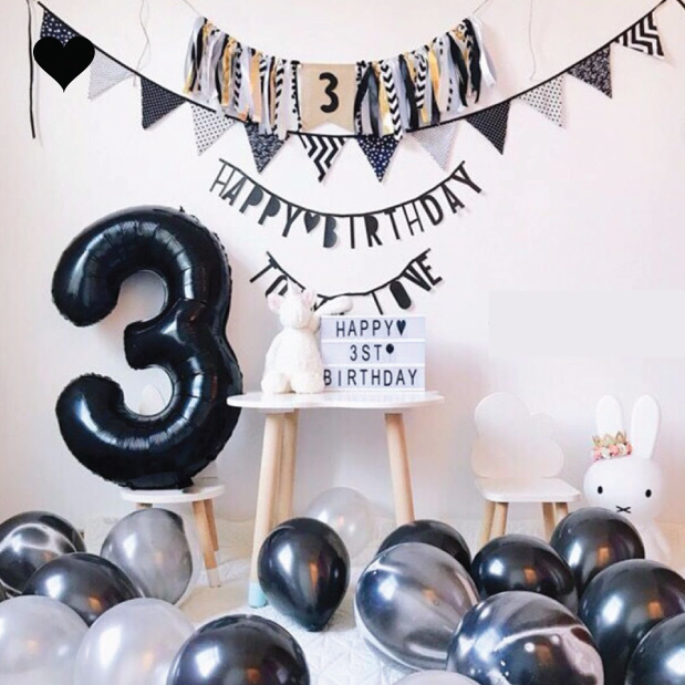 Folieballon cijfer 9 (102cm) - zwart-2