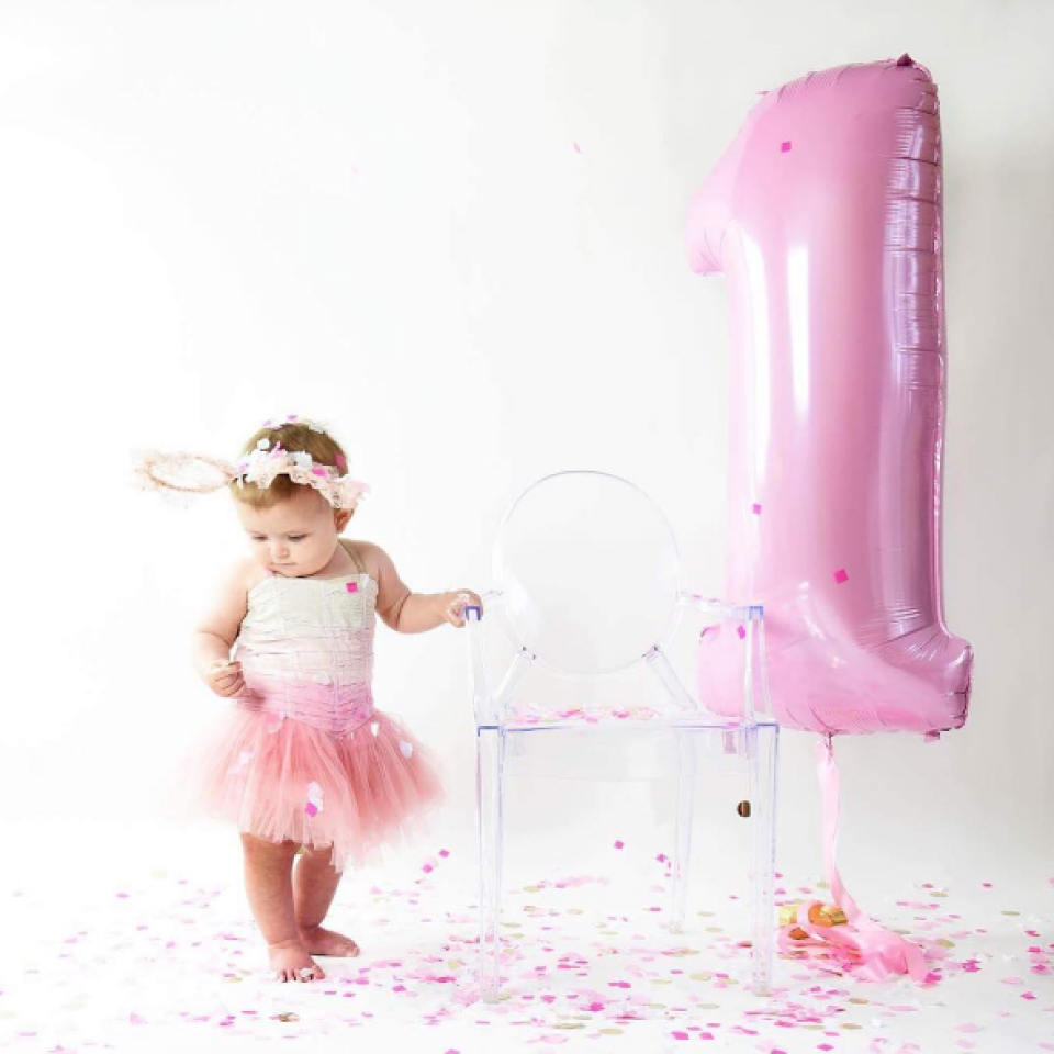 XL folieballon 0 roze (102 cm)-2