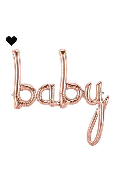 Folieballon script baby roségoud (73 cm)