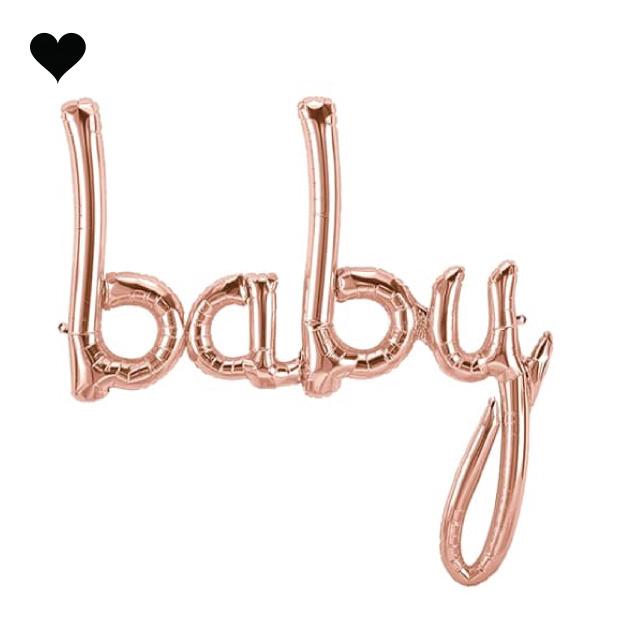 Folieballon script baby roségoud (86 cm)-1
