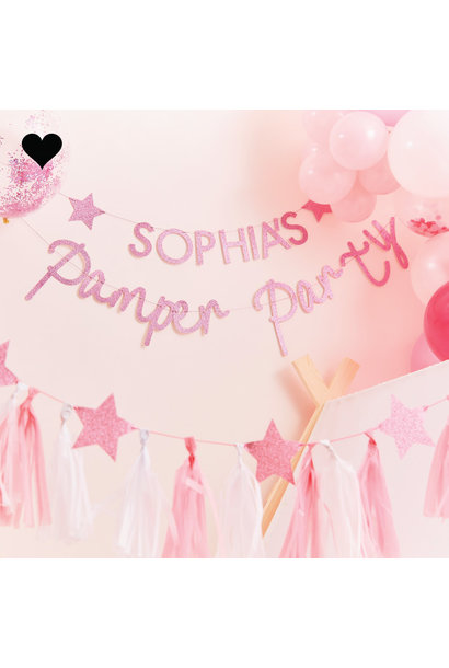 Letterslinger roze glitter Pamper Party Ginger Ray
