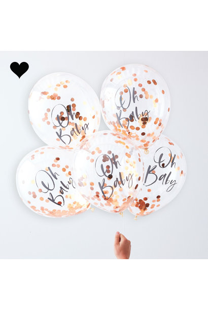Oh Baby roségoud confetti ballonnen twinkle twinkle (5 st)  - Ginger Ray