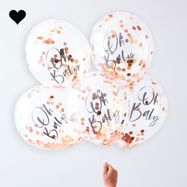 Oh Baby roségoud confetti ballonnen twinkle twinkle (5 st)  - Ginger Ray-1