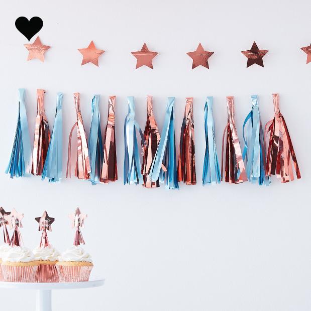Tasselslinger lichtblauw roségoud Twinkle Twinkle - Ginger Ray-2
