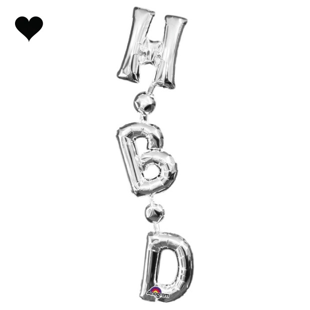 Folieballon verticaal HBD zilver (71cm)-1