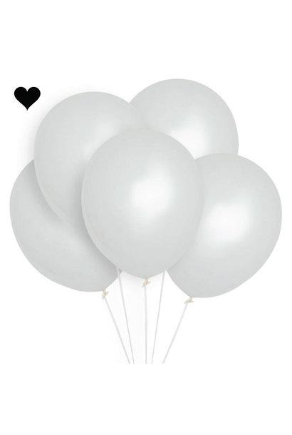 Ballonnen wit metallic 30 cm (10st)