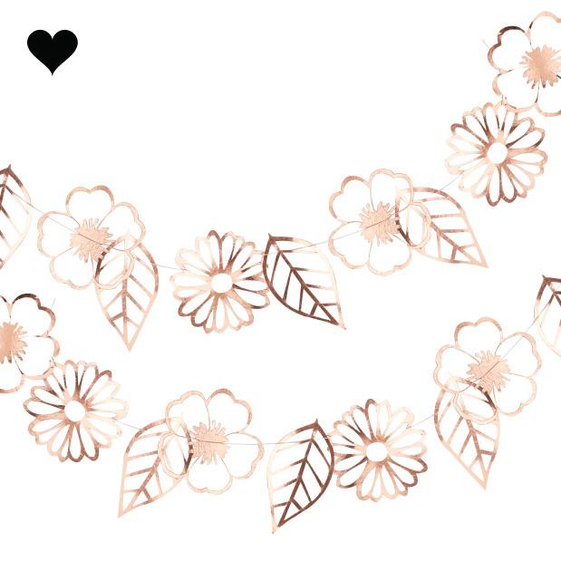 Slinger bloemen cut out roségoud Ginger Ray-2