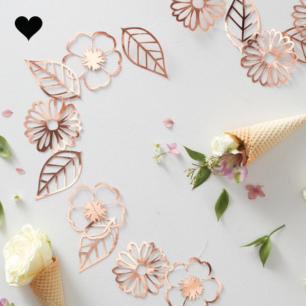 Slinger bloemen cut out roségoud Ginger Ray-1