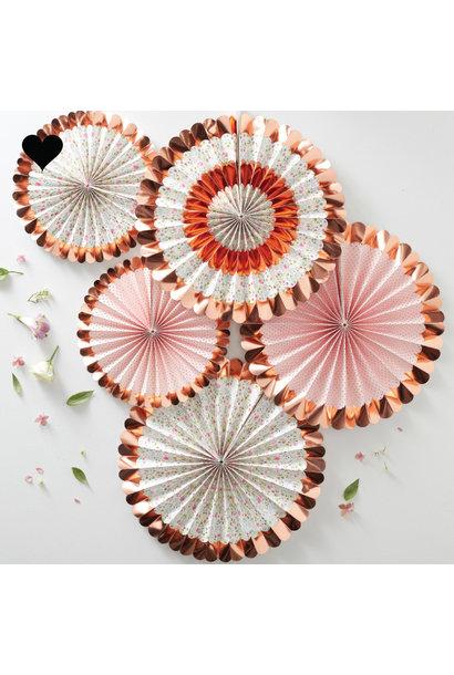 Paper fans bloemen roségoud (5 st) Ginger Ray
