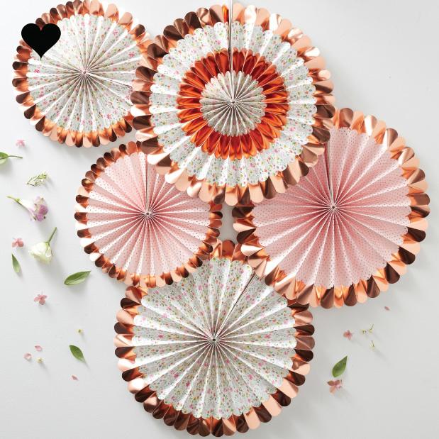 Paper fans bloemen roségoud (5 st) Ginger Ray-1