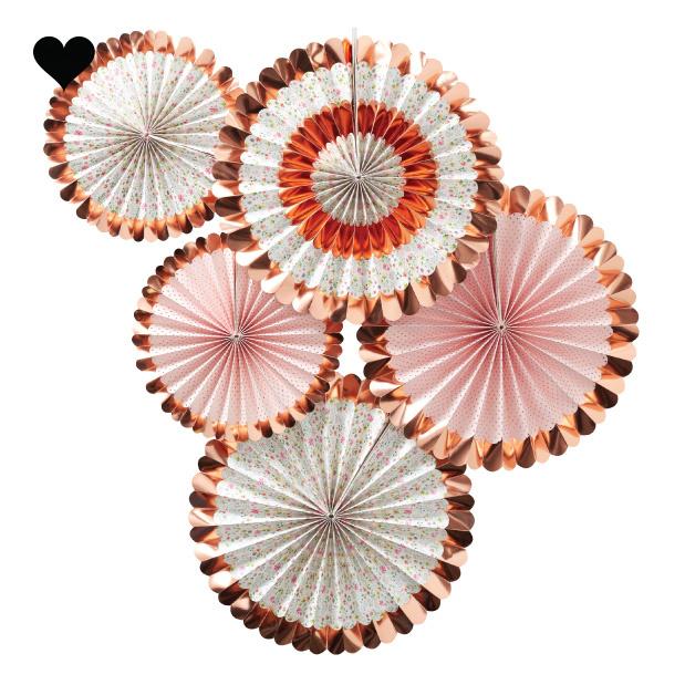 Paper fans bloemen roségoud (5 st) Ginger Ray-2