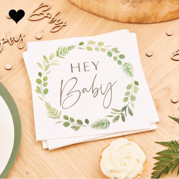 Servetten Hey Baby Botanical Baby Ginger Ray-1