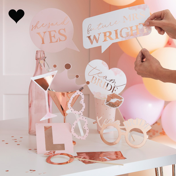 Party Props met letter stickers Blush Hen (10st) Ginger Ray-1