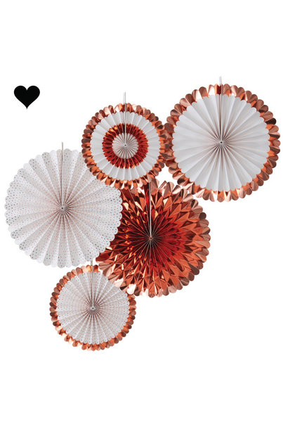 Paperfans roségoud - wit (5st) Ginger Ray
