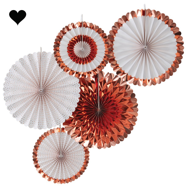 Paperfans roségoud - wit (5st) Ginger Ray-1